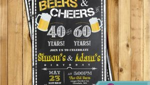 Joint Birthday Party Invitations for Adults Adult Birthday Joint Party Invitation for Men Beers Cheer