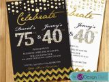 Joint Birthday Party Invitations for Adults Adult Joint Birthday Invitation Combined Invitation Gold