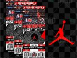 Jordan Birthday Invitations Air Jordan Sports Ticket Style Party Invites Sports Invites