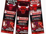 Jordan Birthday Invitations Chicago Bulls Birthday Party Invitation Ticket 1st Custom