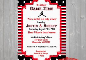 Jordan Birthday Invitations Michael Jordan Baby Shower Invitation Red or Blue by