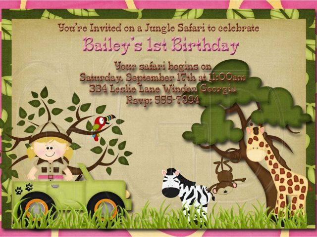 Download By SizeHandphone Tablet Desktop Original Size Back To Jungle First Birthday Invitations