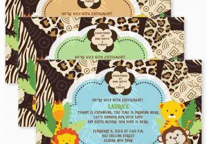 Jungle Themed Birthday Party Invitations 1st