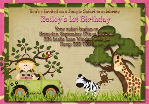 Jungle Themed First Birthday Invitations 1st