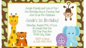 Jungle themed First Birthday Invitations Birthday Invitations Jungle themed 1st Birthday