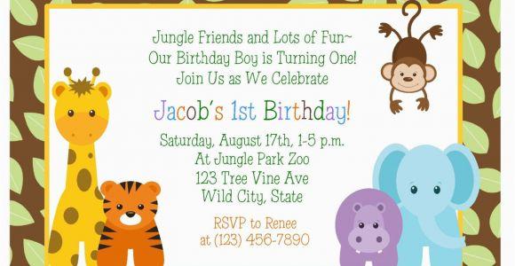 Jungle themed First Birthday Invitations Birthday Invitations Jungle themed 1st Birthday