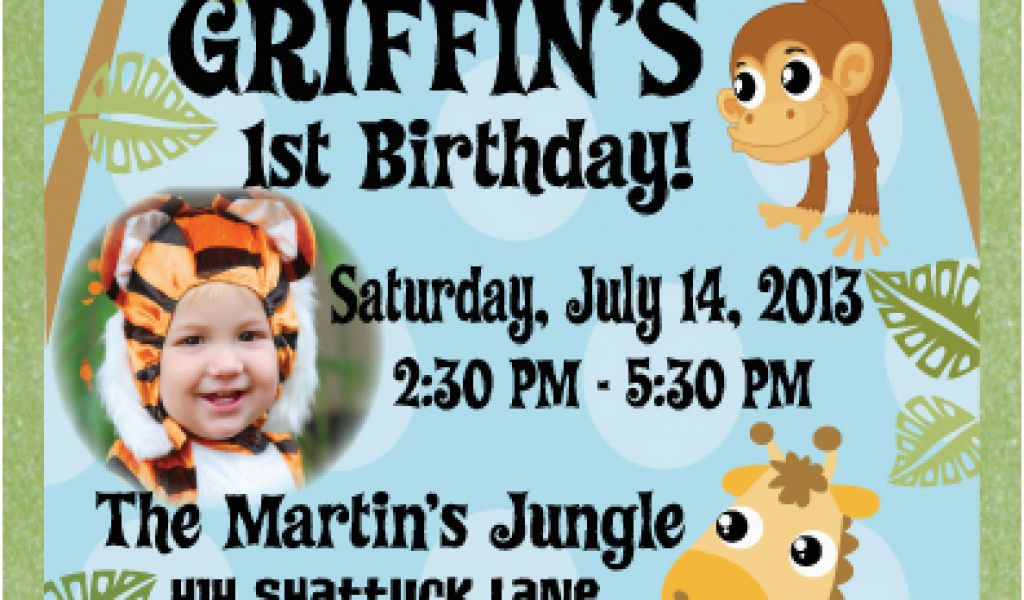 Download By SizeHandphone Tablet Desktop Original Size Back To Jungle Themed First Birthday Invitations