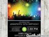 Just Dance Birthday Party Invitations Dance Party Invitations Disco Bokeh Lights Cupcakemakeover