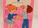 Juvenile Birthday Cards Juvenile Birthday Card 7 Year Old Girl Boy Kitty Cat 1960s