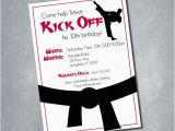 Karate Birthday Party Invitations 10 Martial Arts Karate Tae Kwon Do Red Black and White