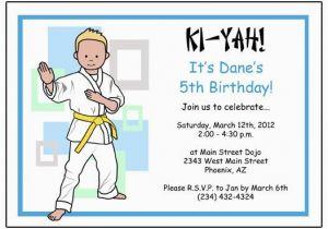 Karate Kid Birthday Invitations Martial Arts Or Party Invitation Boy