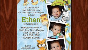 King Of the Jungle Birthday Invitations King Of the Jungle Photo Birthday Invitation and Thank You