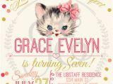 Kitten Birthday Party Invitations Kitty Cat Birthday Party Invitation Little Girls Invite