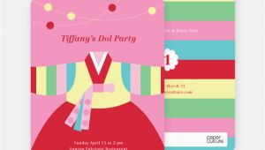 Korean First Birthday Invitations Korean Dol First Birthday Invitations Paper Culture