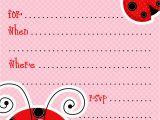 Ladybug Birthday Invites Free Printable Party Invitations Free Ladybug Invite Template