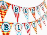 Large Happy Birthday Banners Big top Circus Happy Birthday Banner Pennant