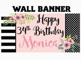 Large Happy Birthday Banners Happy Birthday Banner Birthday Blush Personalized Party