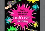 Laser Tag Birthday Invites Laser Tag Girl Birthday Invitation Printable or Printed with
