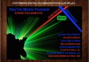 Laser Tag Birthday Invites Laser Tag themed Birthday Party Invitation Laser Tag Custom