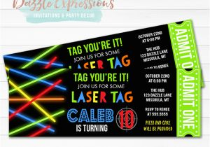 Laser Tag Birthday Invites Printable Glow Laser Tag Ticket Birthday Invitation Kids