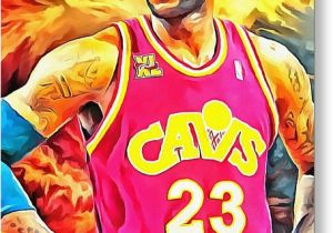 Lebron James Birthday Card Lebron James Basketball Art Portrait Painting Painting by