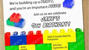 Lego Birthday Invitation Wording Building Brick Invitation Boy or Girl Printable