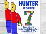 Lego Birthday Invitation Wording Lego Birthday Party Invitation Kids Party Lego Man