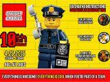 Lego City Birthday Invitations Lego Police Birthday Invitation