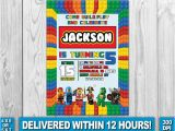 Lego City Birthday Party Invitations Lego Invitation Lego Birthday Lego Invite by