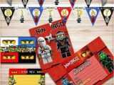 Lego Ninjago Happy Birthday Banner Lego Ninjago Birthday Party Kit Ninjago Banner Ninjago