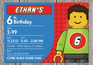 image regarding Lego Birthday Card Printable named Lego themed Birthday Invitation Card Lego Birthday
