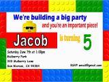 Lego themed Birthday Invitation Card Lego Birthday Invitation Lego Birthday Invitation for the