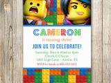 Lego themed Birthday Invitation Card Lego Birthday Invitation