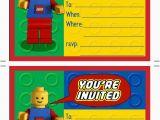 Lego themed Birthday Invitation Card Printable Lego Birthday Invitations Scribd Aaron 39 S