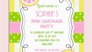 Lemonade Birthday Party Invitations Pink Lemonade Birthday Party Invitation Personalized Diy