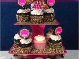 Leopard Birthday Decorations 3 Tier Leopard Cheetah Pink Swirls Cupcake by Luxepartysupply