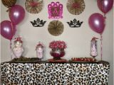 Leopard Print Birthday Party Decorations Hot Pink and Leopard Baby Shower Dessert Table Leopard