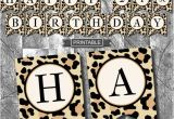 Leopard Print Happy Birthday Banner Leopard Print Cheetah Print Birthday Party Decoration Banner