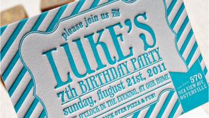 Letterpress Birthday Invitations Luke 39 S Striped Letterpress Birthday Party Invitations
