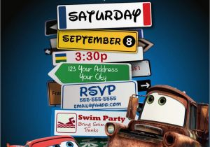Lightning Mcqueen Birthday Invitations Free Printable Disney Pixar Cars Mater Party