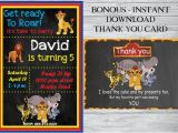 Lion Guard 1st Birthday Invitations the Lion Guard Birthday Invitation Free Thank You Card the
