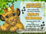Lion King 1st Birthday Invitations Lion King Birthday Invitations Invitation Librarry