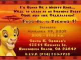 Lion King 1st Birthday Invitations Lion King Simba Birthday Party Invitation Contact