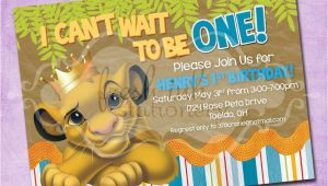 Lion King 1st Birthday Invitations Simba Lion King Birthday Invitation