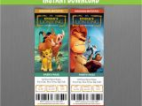 Lion King Birthday Invitation Template Free the Lion King Birthday Ticket Invitations Instant