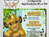 Lion King Birthday Party Invitations Simba King Jungle Invitation Simba with Crown Invite Lion