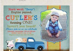 Little Blue Truck Birthday Invitations Items Similar to Little Blue Truck Custom Birthday Party