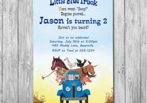 Little Blue Truck Birthday Invitations Little Blue Truck Invitation Option with Photo Little Blue