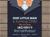 Little Man First Birthday Invitations Little Man Birthday Invitation Baby Boy Invite Blue Gray