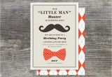 Little Man First Birthday Invitations Little Man Party Invitation First Year by Brightsideprints